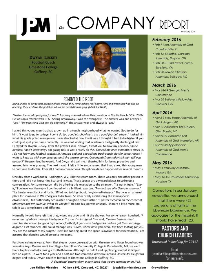 February 2016 Company Report