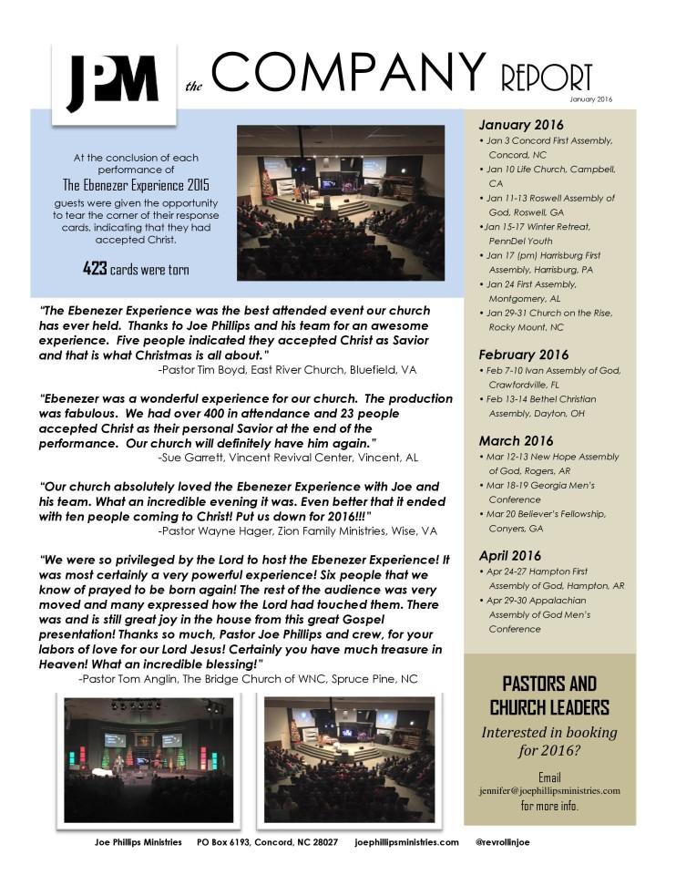 January 2016 Company Report